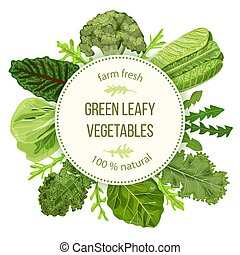 Green leafy vegetables, Round label, text, copt space. farm...