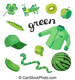 Green. Learn the color. Education set. Illustration of primary colors.