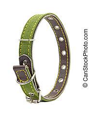 green leather dog collar