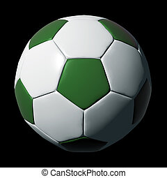 Green leather soccer ball isolated on black background.