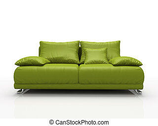 Green leather sofa isolated on white background