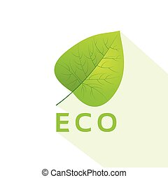 green leave eco flat icon vector