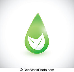 green leave water drop illustration design