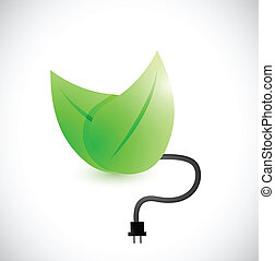 green leaves and cable illustration design over a white...