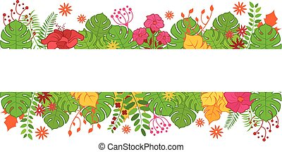 Green leaves and flowers banner