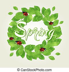 Green leaves and ladybug