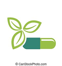 Green leaves and pill icon