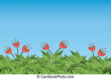 Green leaves and red flowers isolated on blue sky background.