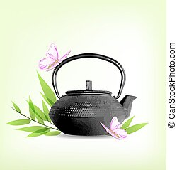Green leaves and teapot