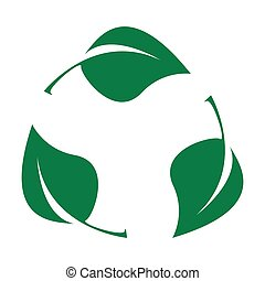 Green leaves. Bio recyclable plastic icon. Biodegradable logo
