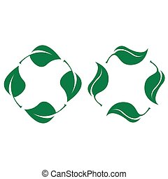 Green leaves. Bio recyclable plastic icon set vector
