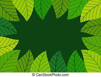 Green leaves border.