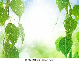 Green leaves, bright light