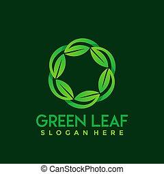 Green Leaves Care logo Design vector illustration