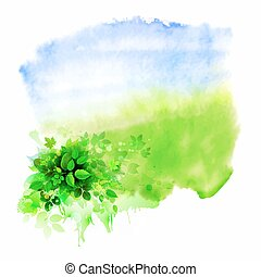 glade - Green leaves composition on the glade. Watercolor...