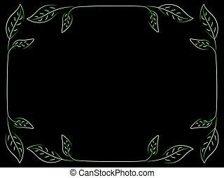green leaves frame on black mesh background