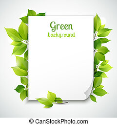 Green leaves frame template - Fresh spring green grass...