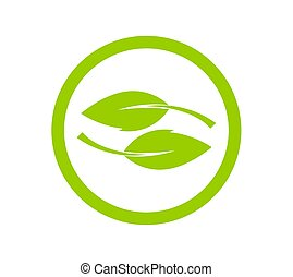 Green leaves icon concept.