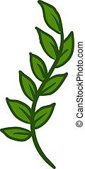 Green leaves, illustration, vector on white background.