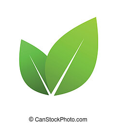 Green leaves - Vector illustration of ecology concept icon...