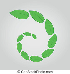 green leaves in spiral