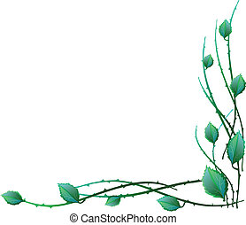 Green leaves in the corner of vector illustration