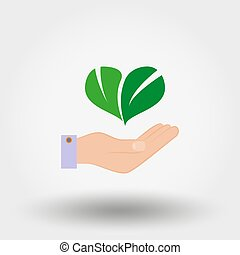 Green leaves in the form of heart on hand. Environmental protection. Icon. Vector. Flat.