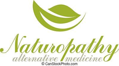 Green leaves isolated on white background. Homeopathy creative symbol, alternative medicine emblem.