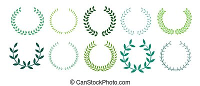green leaves laurel wreath collection design