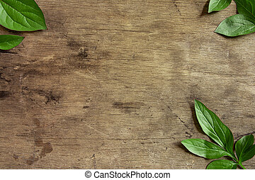 Green leaves lie on a wooden background
