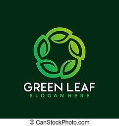Green Leaves logo Design vector illustration