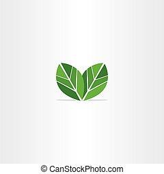 green leaves logo eco icon vector