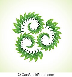 Green leaves make recycle icon