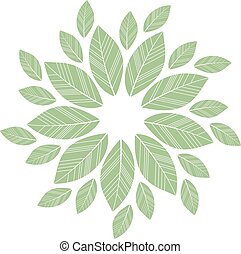 green leaves mandala isolated on white background. vector ...
