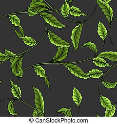 Green leaves on a dark background seamless pattern.