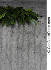 green leaves on a gray wall
