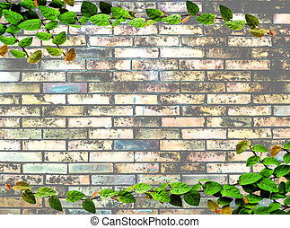 green leaves on brick wall texture