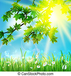 Green leaves on sky and grass.