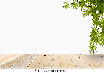 Green leaves on table wood