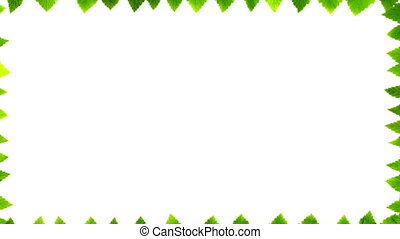 Green leaves on white background with space for text. 4K stop motion animation