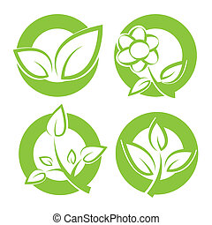 green leaves round stickers