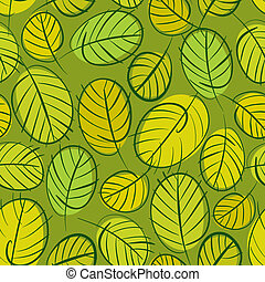 Green leaves seamless background, floral seamless pattern, hand