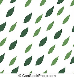Green leaves seamless pattern on a white background.