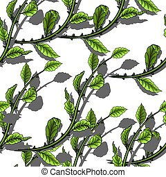 Green leaves seamless pattern on white background.
