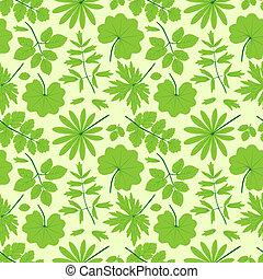 Green leaves seamless pattern.