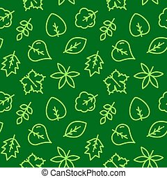 Green Leaves seamless pattern vector illustration