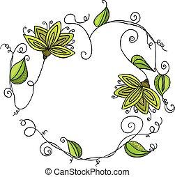 Green leaves shaped heart frame