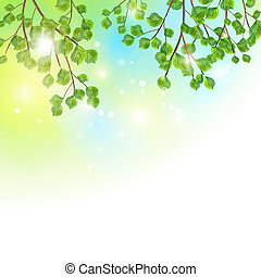 Green leaves tree branches vector background