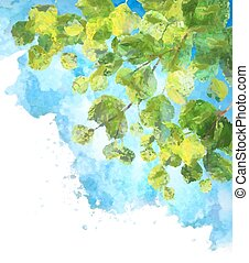 Green leaves tree branches vector watercolor