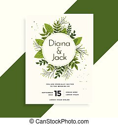 green leaves wedding invitation card design